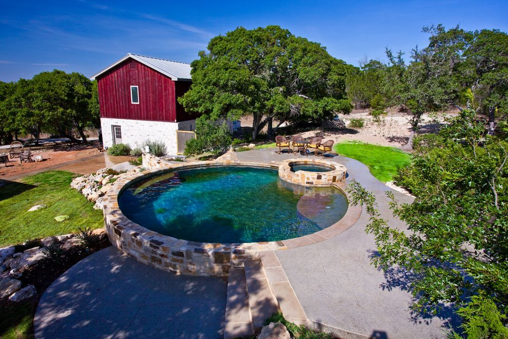 Pools in Mcallen Tx   Rustic Pool Also Barn Grass Lawn Patio Furniture Red Round Pool Rustic Stone Wall Turf