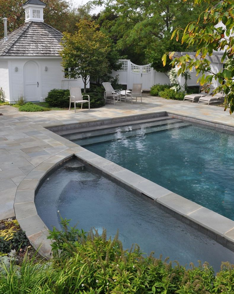 Pools in Reading Pa   Traditional Pool Also Cabana Chaise Lounge Cupola Hot Tub Jacuzzi Patio Patio Furniture Pavers Planters Pool House Shake Roof Spa Stone Paving White Wood Wood Fencing Wood Siding