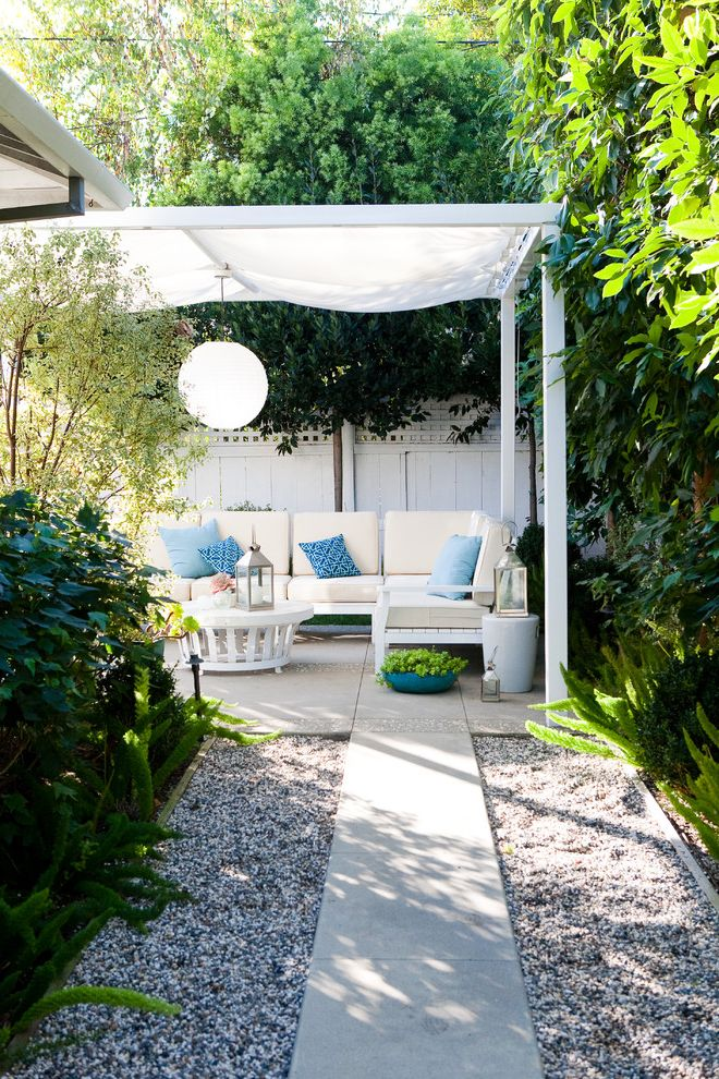 Pop Up Canopy with Sides with Traditional Patio  and Blue Concrete Path Fabric Awning Gravel Landscaping Pendant Light Pillows Seat Cushions Sectional