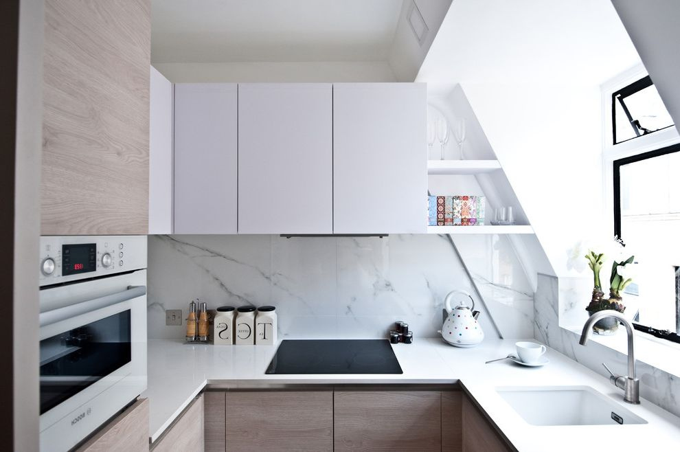 Porcelain Tile That Looks Like Marble   Contemporary Kitchen  and Bosch Compact Kitchen Galley Kitchen Marble Marble Splash Back Scandinavian Kitchen Small Kitchen Small Kitchens Small Space Studio Kitchen Tiny Kitchen White Kitchen White Sink Window