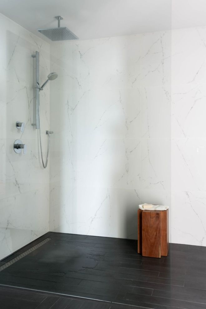 Porcelain Tile That Looks Like Marble with Scandinavian Bathroom Also Floor Transition Marble Shower Open Shower Rain Shower Head Shower Head Wood Grain Tiles