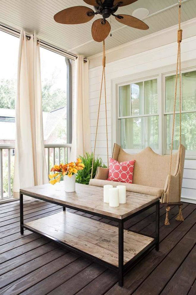 Porch Swings for Sale   Contemporary Porch Also Beadboard Ceiling Ceiling Fan Circles Drapes Natural Fan Outdoor Space Reclaimed Wood Coffee Table Red Throw Pillow Rope Detail Siding Swing Bench Upholstered Porch Swing Wood Metal Table