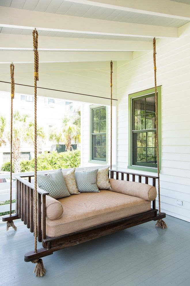 Porch Swings for Sale   Traditional Porch  and Charleston Exposed Beams Green Window Midcenutry Painted Floors Rope Suspension Bench Slanted Ceiling Vintage Wood Paneling