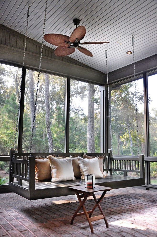 Porch Swings for Sale with Traditional Porch  and Bed Swing Brick Floor Ceiling Fan Chains Gray Painted Wood Lowcountry Architecture Palmetto Bluff Pillows Porch Swing Screened T G Tongue and Groove Ceiling Wood Slat Woods