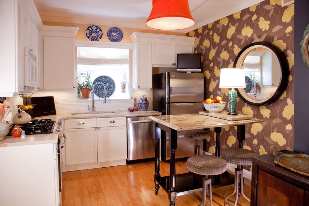 Portable Dishwasher for Sale   Eclectic Kitchen Also Accent Wall Bar Breakfast Bar Eat in Kitchen Floral Wallpaper Kitchen Kitchen Cart Kitchen Window Round Mirror Small Kitchen Under Cabinet Lighting White Kitchen Wood Flooring
