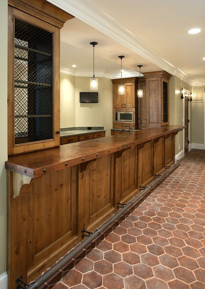 Portland Construction Companies   Rustic Kitchen  and Alder Cabinets Bar Bar Foot Rail Baseboards Basement Bar Brick Crown Molding Hammered Countertops Hammered Metal Hex Floor Tile Pendant Lighting Rustic White Wood Wire Mesh Cabinets Wood Molding