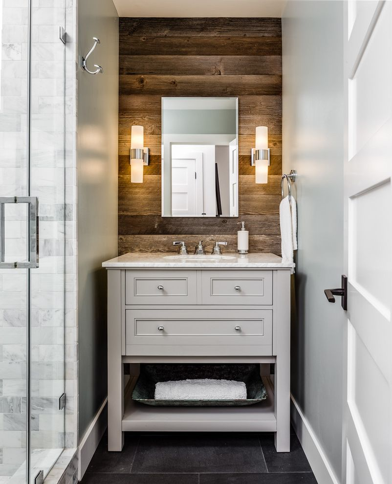 Positano San Carlos with Rustic Bathroom Also 5 Panel Door Arts Crafts Bungalow Carrara Marble Craftsman Style Distressed Wood Gray Vanity Marble Counter Marble Tile Open Vanity Powder Room Reclaimed Wood Transitional Wall Sconce