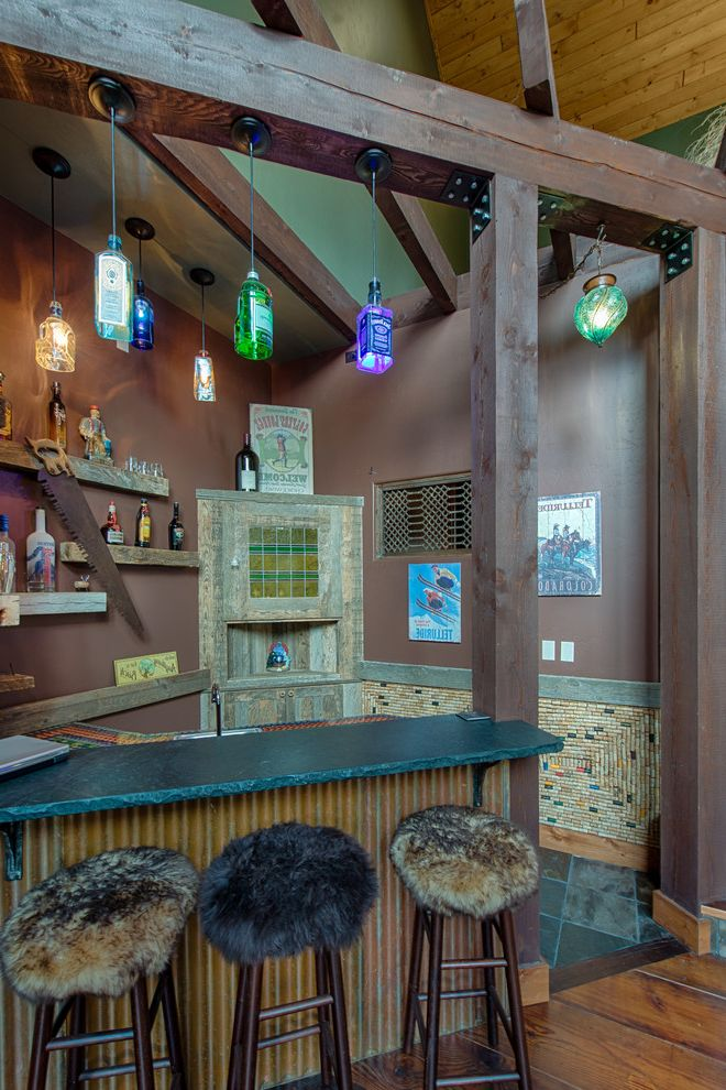 Post Community Credit Union   Rustic Home Bar Also Bottle Pendant Lighting Counter Stools Eclectic Fur Stools Post and Beam