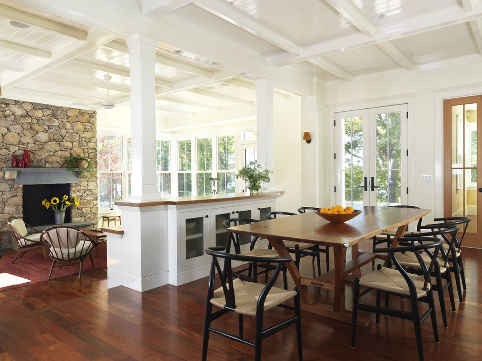Post Community Credit Union with Traditional Dining Room Also Buffet Coffered Ceiling Columns Dark Stained Wood Floor Dining Table French Doors High Gloss White Paint Mantle Posts Rush Seats Seating Area Stone Fireplace Wood Floor