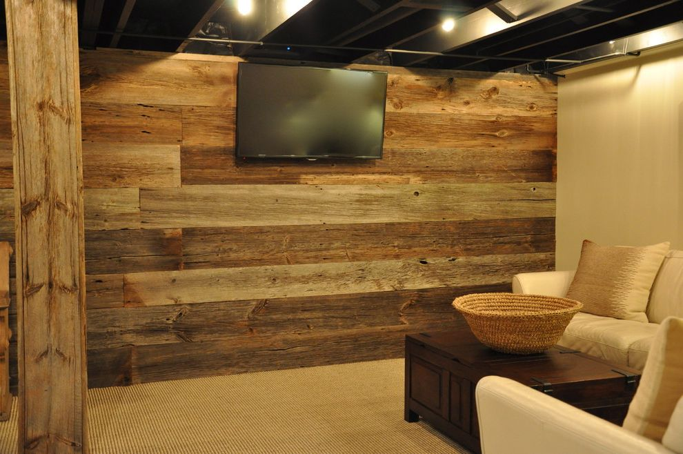 Poteau Theater with Rustic Basement  and Barn Siding Paneling Barn Siding Wall Barn Wood Accent Barn Wood Wall Gray Barn Wall Grey Barn Paneling Reclaimed Gray Wood Wall Reclaimed Wood Paneling Silver Barn Wood