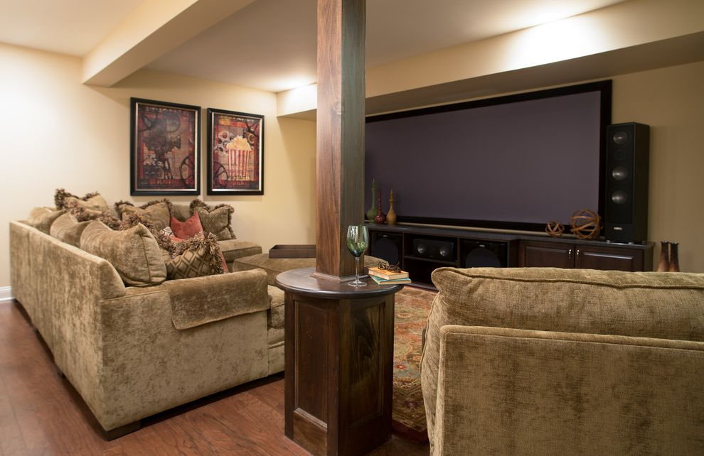 Poteau Theater with Traditional Basement  and Deep Sofa Pre Finished Wood Floors Projection Screen Support Post Table