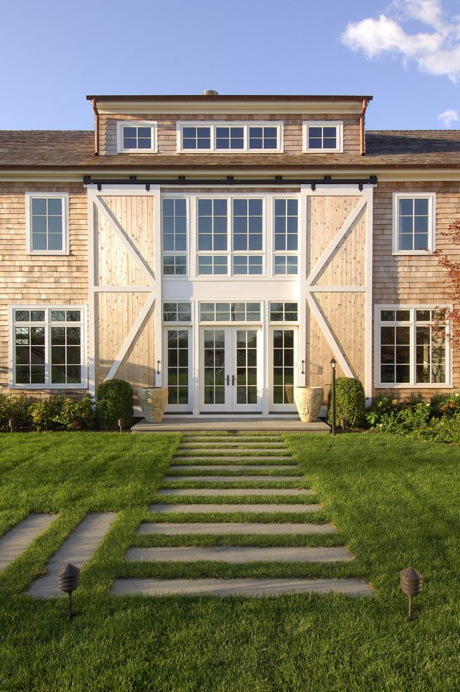 Pottery Barn Recliner   Traditional Exterior  and Barn Style Dormers French Doors Grass Hardscape Landscape Lawn Muntins Outdoor Lighting Pavers Plants Pottery Shingle Roof Shingle Siding Shrubs Step Stepping Stones White Trim Wood Paneling