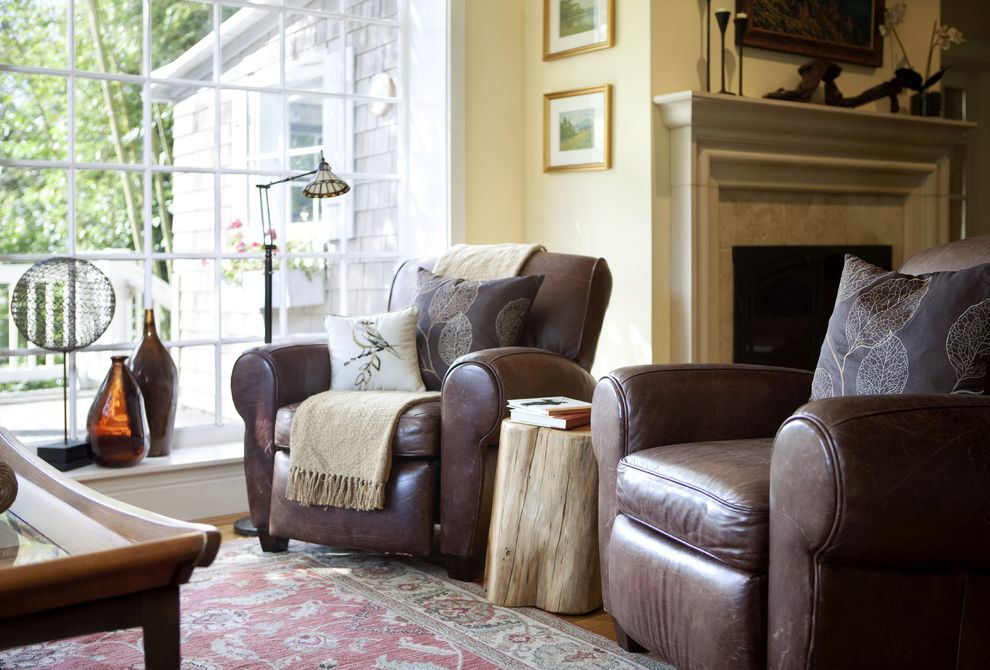 Pottery Barn Recliner with Traditional Living Room Also Brown Leather Chair Fireplace Floor Lamp French Window Leather Chair Oriental Carpet Side Table Tree Trunk Window