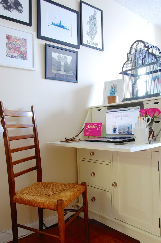Pottery Barn Secretary Desk with Eclectic Home Office and Colorful Manhattan Modern New York Pink Secretary Space Trendy Wall Gallery White Wood Chair York Ave