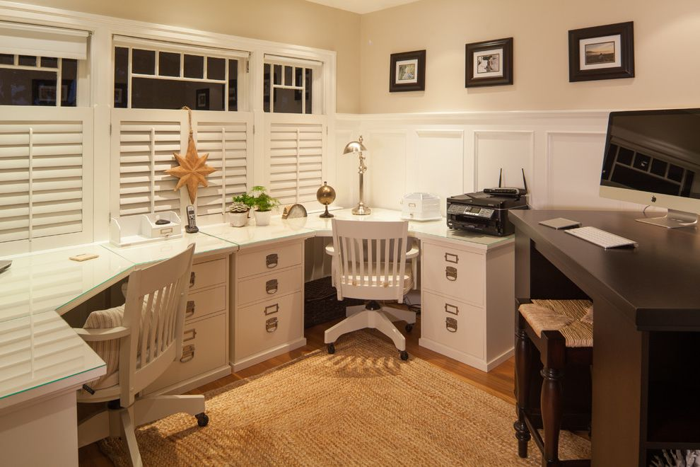 Pottery Barn Secretary Desk with Traditional Home Office and 3 Seater Office Space Area Rug Natural Rug Open Office Plantation Shutters Shared Workspace Shutters Space Saving Wainscoting White Office Cabinets Window Treatments Work Space