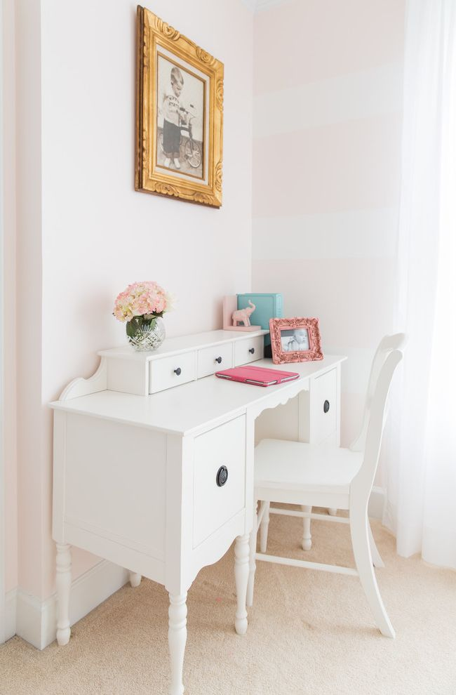 Pottery Barn Secretary Desk with Traditional Kids and Baby Pink Base Board Country Desk Desk Desk and Chair Elephant Book End Gold Frame Pink and Blue Pink and White Pink Stripes White Desk White Stripes