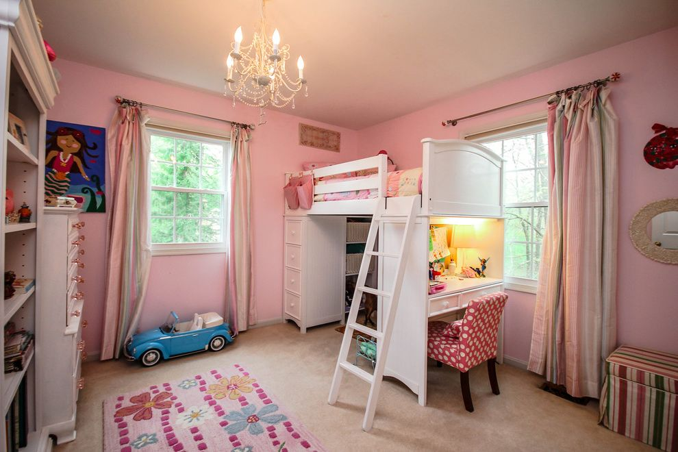 Pottery Barn Secretary Desk with Traditional Kids and Bookcase Chandelier Desk Loft Bed Pink Pink and White Pink Curtain Pink Wall Shelves Upholstered Chair White Bed White Loft Bed
