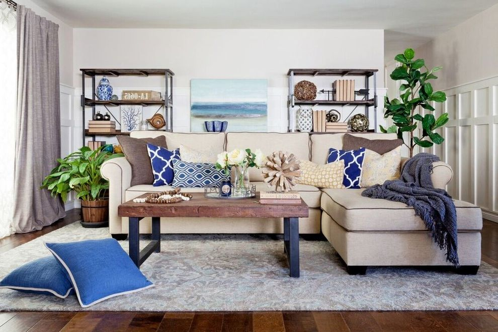 Pottery Barn Sofa Table   Beach Style Living Room Also Board and Batten Fiddle Leaf Fig Tree Modern Farmhouse Navy Rustic Transitional