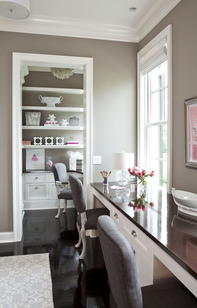 Ppg Interior Paint with Traditional Home Office Also Accessories Antiqued Chairs Area Rug Art Black Built in Desk Cabinetry Chandelier Gray Lamp Martha Ohara Interiors Pink Pink Art Roman Shade Shelves White Window Treatment