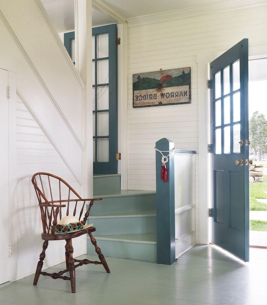 Pratt and Lambert Paint Reviews with Beach Style Entry  and Beadboard Blue Door Blue Floor Blue Post Dark Wood Armchair Entrance Wall Art