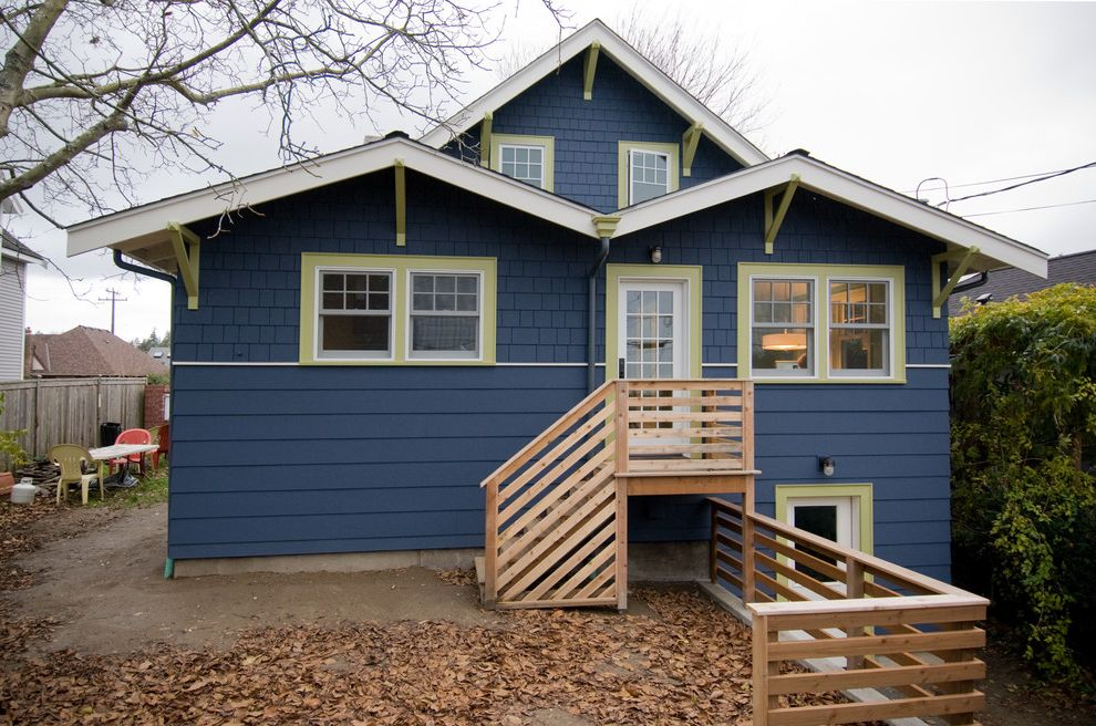 Pratt and Lambert Paint Reviews with Craftsman Exterior  and Back Door Blue Wall Cottage Craftsman Eaves Entrance Entry Green Trim Horizontal Slat Fence Painted Wood Rustic Shingle Siding Wood Fencing Wood Siding
