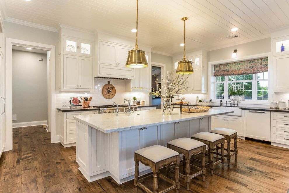 Pratt and Lambert Paint Reviews with Farmhouse Kitchen  and Bright Casual Elegance Counter Stools Paneled Ceiling Pendant Lights White on White Kitchen Window Shades Windows Over Sink