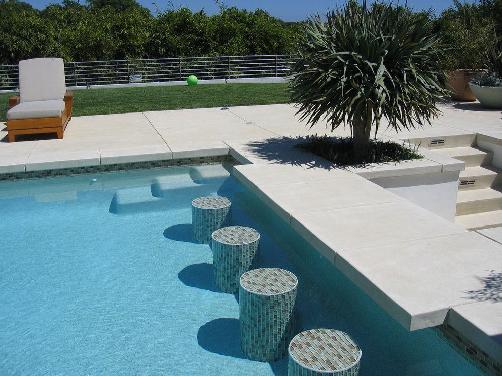 Precast Pool Coping   Contemporary Pool  and Cable Railing Concrete Garden Furniture Pavers Pool Step Stool