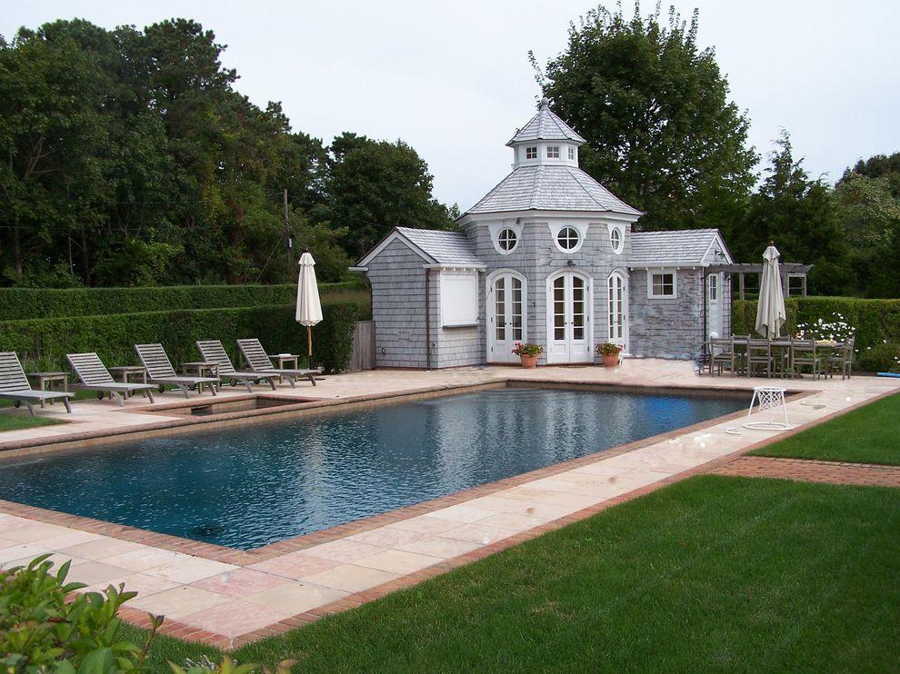 Precast Pool Coping with Beach Style Pool  and Arched Doors Brick and Stone Paving Brick Pool Coping Brick Pool Paving Classical Pool Design French Doors in Ground Custom Spa in Ground Spa Oculus Windows Pool House Design Shingle