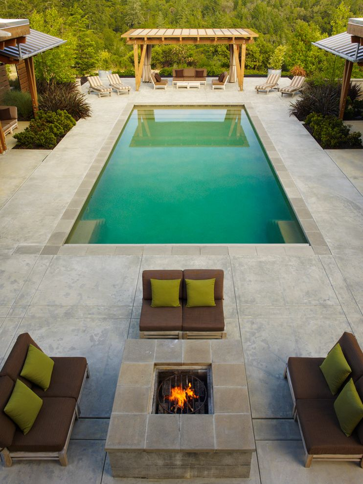 Precast Pool Coping with Traditional Pool  and Concrete Fire Pit Outdoor Fire Pit Patio Fire Pit Pool Rectilinear Pool Seating Shade Arbor