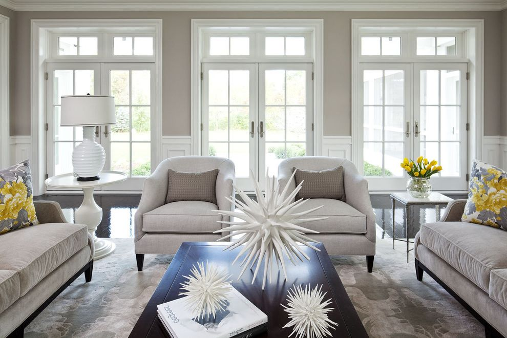 Premierh2o with Transitional Living Room  and Area Rug Black Black Floor Cocktail Table Decorative Pillows End Table French Doors Gray Lamp Lounge Chair Martha Ohara Interiors Sofa Spiky Accessory Star Accessory Taupe White Yellow Yellow Ottoman