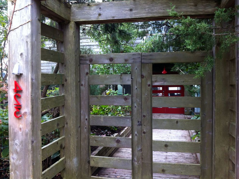 Pressure Mounted Dog Gates with Eclectic Landscape  and Garden Gate Gate House Numbers Pop of Color Red House Numbers Rustic Gate Weathered Cedar Wood Gate