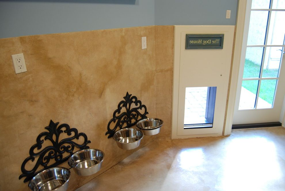 Pressure Mounted Dog Gates with Mediterranean Laundry Room Also Blue Bowls Dog Doggy Door Door Feeding Mud Room Pet