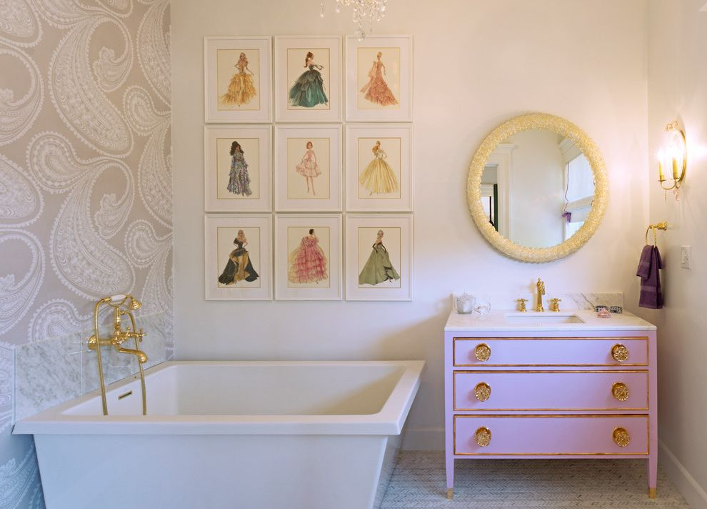 Print Shop Dallas   Traditional Bathroom Also Fashion Plates Feminine Bathroom Girly Bathroom Gold Fixtures Pink Vanity Round Mirror Wallpaper Accent Wall