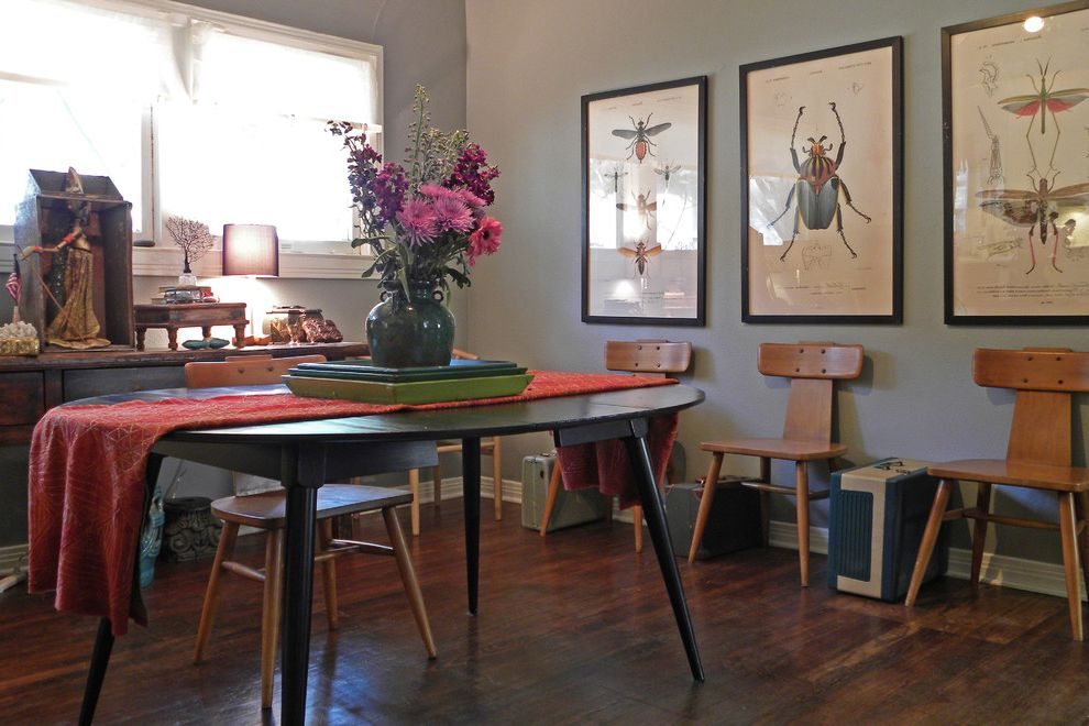 Print Shop Dallas with Eclectic Dining Room Also Antique Bohemian Box Bugs Chairs Cloth Console Dining Flowers Gray Walls Hard Wood Floor Indonesian Insects Luggage Moths Nature Prints Puppet Runner Suitcases Table Textiles Vintage Wood