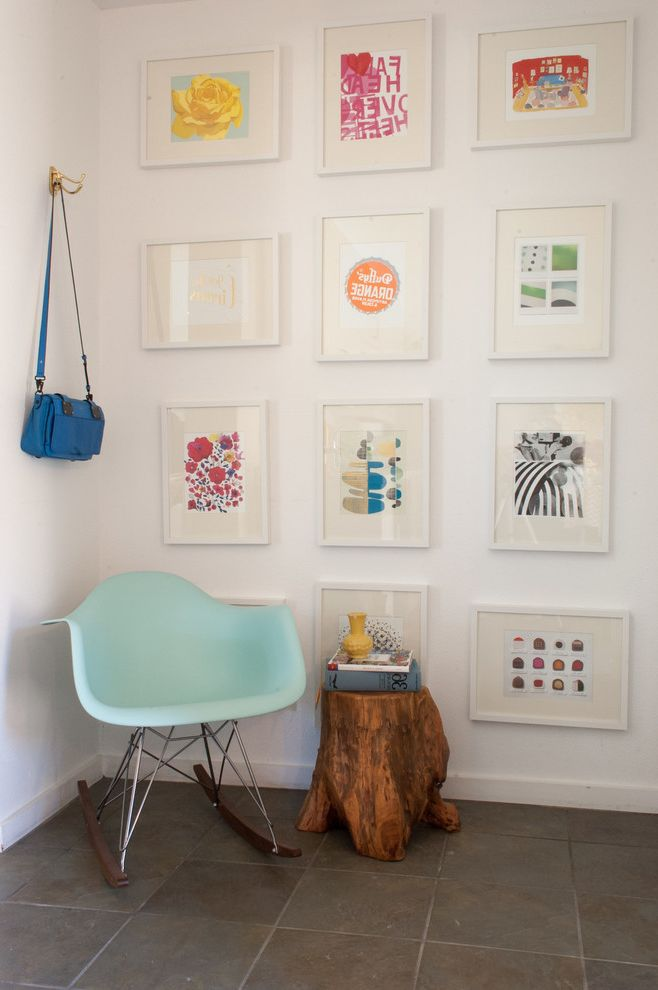 Print Shop Dallas with Scandinavian Entry Also Blue Rocking Chair Colorful Wall Art Driftwood Stool Entry Frame Collage Graphic Art Graphic Art Wall Hook Picture Collage Stone Floor White Frames Wood Slab Wood Stump Stool