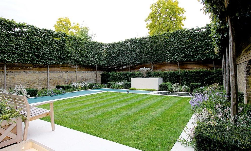 Privacy Fence Trees Traditional Landscape And Bench Brick Wall