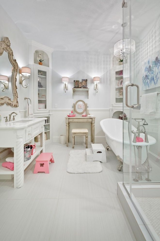 Private Investigator Houston Tx   Victorian Bathroom  and Corner Cabinet Dressing Table Freestanding Tub Girls Bathroon Step Stool Wall Sconces White Floor Tile