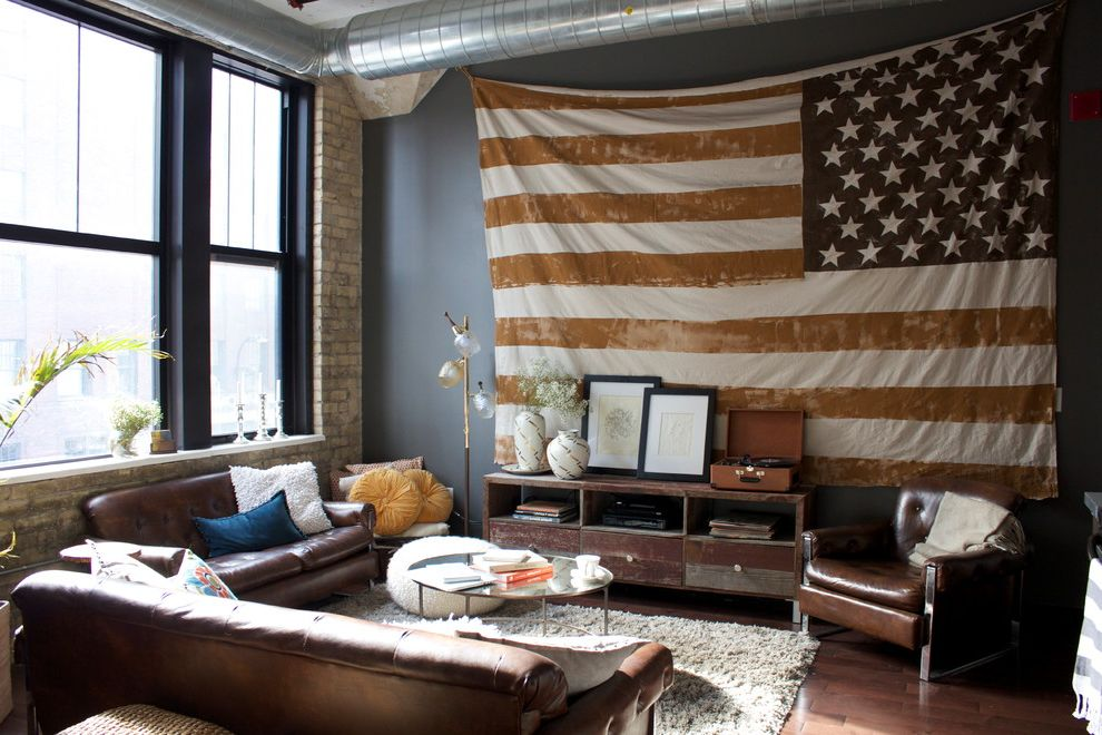 Proper Way to Hang the American Flag   Contemporary Living Room  and American Flag Brown Brown Leather Chair Brown Leather Sofa Console Ductwork Exposed Brick Flag Floor Lamp Glass Coffee Table Loft Pouf Shag Rug