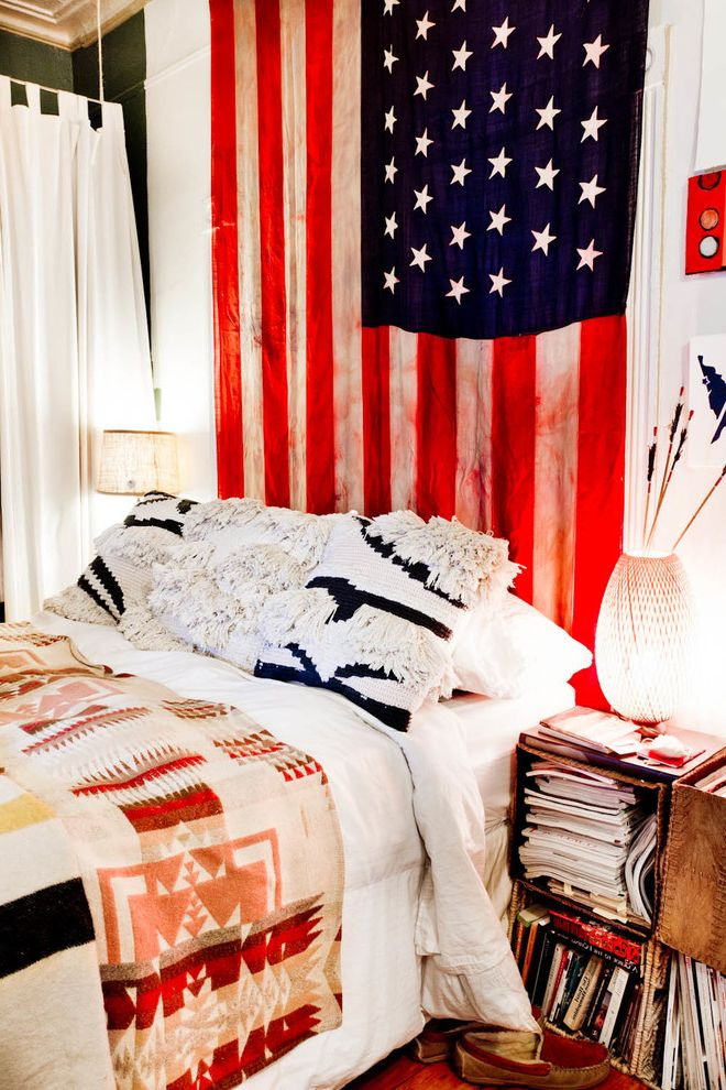 Proper Way to Hang the American Flag   Eclectic Bedroom Also Accent Pillow American Flag Blanket Book Storage Crown Molding Cube Nightstand Cubes Fringe Green Wall Magazines Moccasins Native American Bedding Night Lamp Texture White Curtain Wood Floors