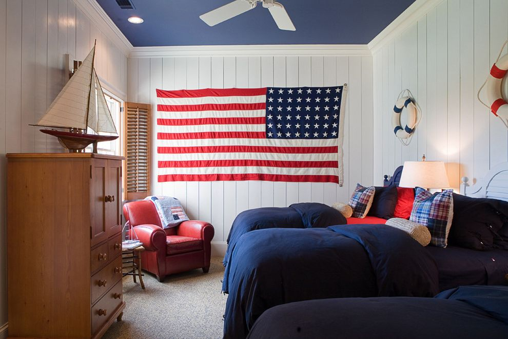 Proper Way to Hang the American Flag   Traditional Kids Also American Flag Bedroom Blue Painted Ceiling Carpeting Ceiling Fan Childrens Room Denim Dresser Life Preservers Navy Plaid Red Leather Armchairs Sailboat Shutters Twin Beds