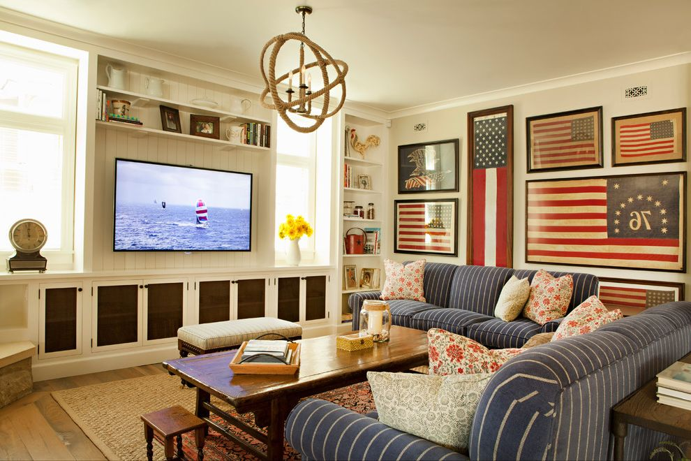 Proper Way to Hang the American Flag with Beach Style Family Room  and Americana Built in Cabinets Floral Pillows Gallery Wall Ground Up Layered Area Rugs Rope Chandelier Shingle Shingle Style Striped Sofa