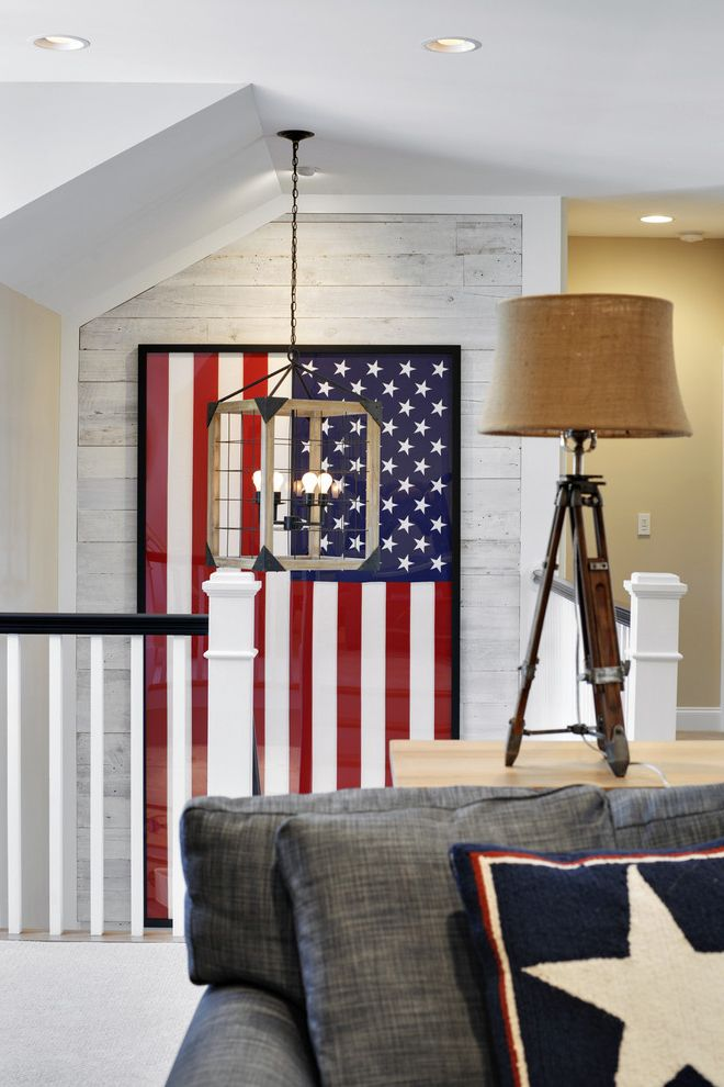 Proper Way to Hang the American Flag with Beach Style Staircase  and Beach Style