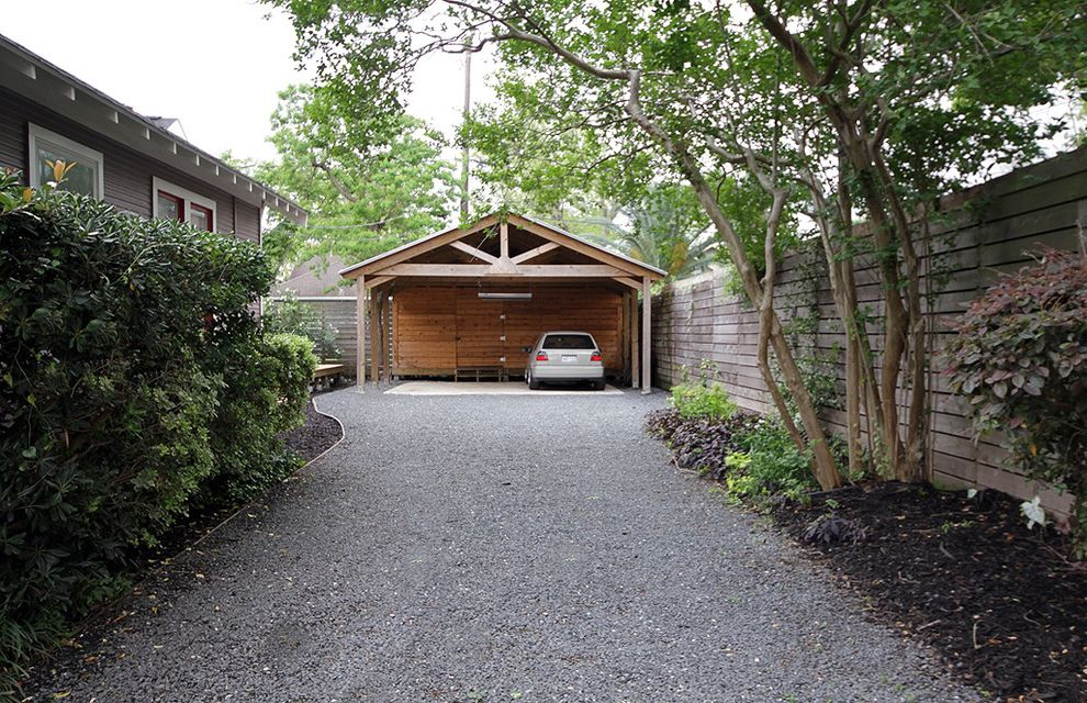 Public Pools Columbia Sc with Traditional Garage  and Car Port Gravel Driveway Hedge Horizontal Planks Mulch Pediment Plank Fence Rafter Tails Shrubs Truss Wood Plank Fence