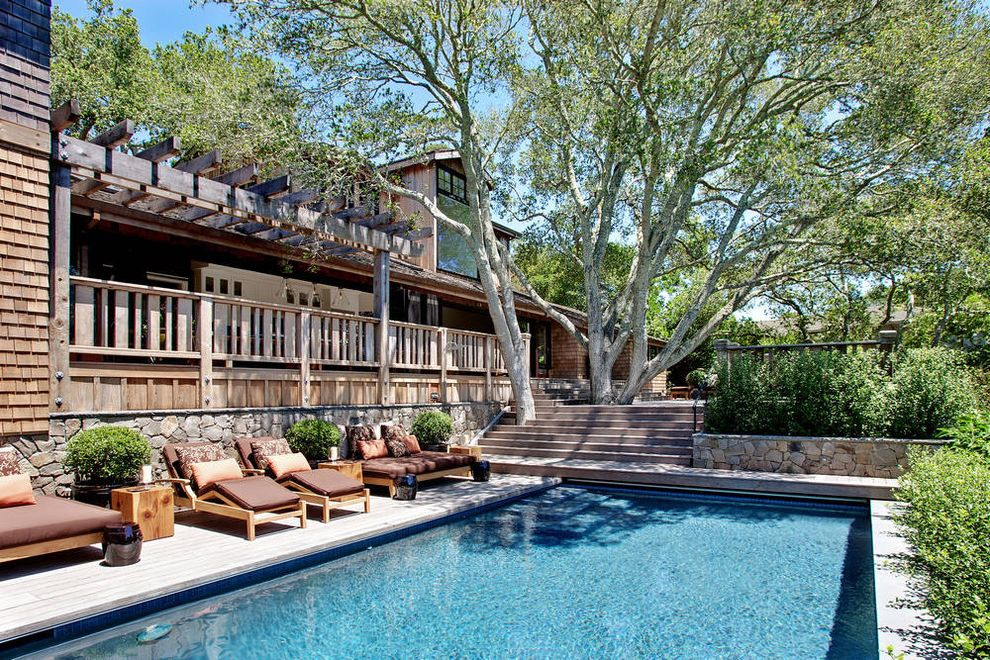 Public Pools in Tampa   Transitional Pool  and Multiple Levels Outdoor Seating Outdoor Stairs Patio Furniture Pergola Rectangular Pool Stacked Stone Planter Wood Chaise Lounge Wood Deck Wood Railing
