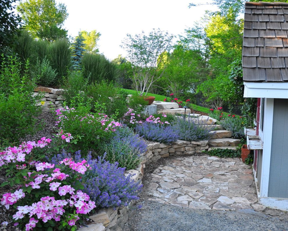 Purple Flowers Names   Traditional Landscape Also Boulders Bushes Grass Pink Flowers Private Patio Purple Flowers Red Flowers Rock Staircase Rock Stairs Rock Wall Shrubs Small Patio Stone Patio Stone Stairs Stone Wall Tall Grass