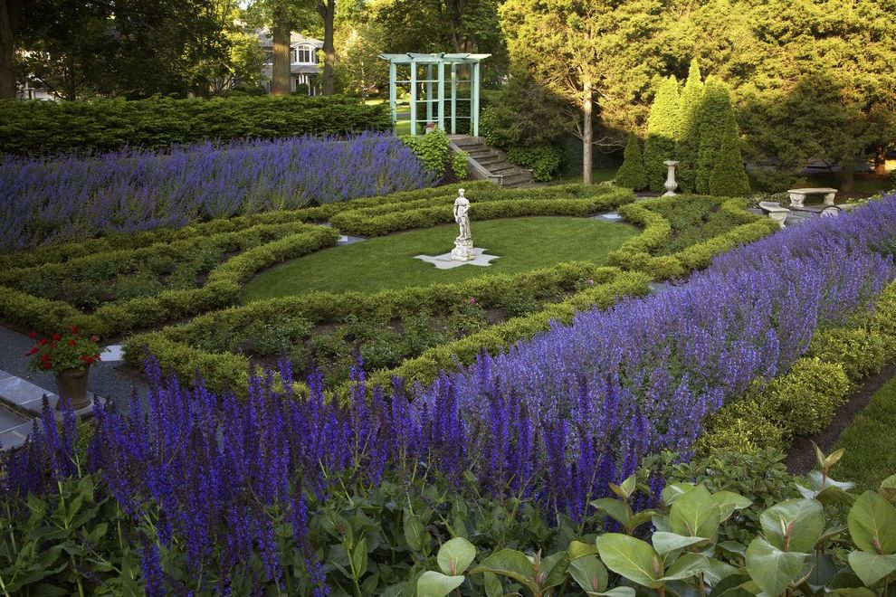 Purple Flowers Names with Traditional Landscape Also Arbor Bench Seats Flagstone Grass Gravel Knot Garden Lawn Limestone Pergola Purple Statue Stepping Stones Steps