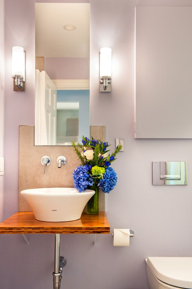 Purple Vessel Sinks   Contemporary Bathroom Also Bamboo Counter Top Floating Counter Top Medicine Cabinet Mirrored Medicine Cabinet Vessel Sinks Wall Mounted Faucet Wall Mounted Toilet Wall Sconces