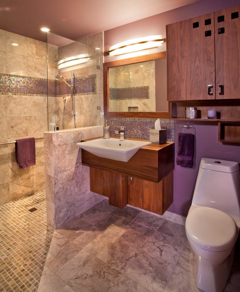 Purple Vessel Sinks with Contemporary Bathroom Also Floating Vanity Flushwork Glass Shower Wall Heated Floors Mauve Metallic Tile Mosaic Tile No Curb Shower Floor Pony Wall Purple Tile Floor Vessel Sink Wall Sconce Wheel Chair Accessible