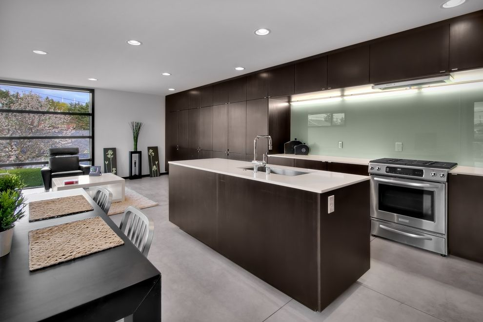 Quality Glass Omaha   Modern Kitchen Also Ceiling Lighting Dark Wood Cabinets Eat in Kitchen Great Room Kitchen Island Kitchen Table Minimal Recessed Lighting Stainless Steel Appliances Under Cabinet Lighting