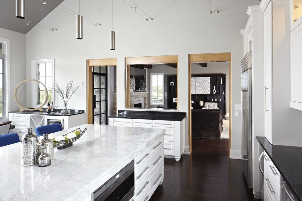 Quartz Countertops Indianapolis   Contemporary Kitchen Also Black Granite Dark Stained Wood Floor Stainless Steel Appliances Suspension Lights Vaulted Ceiling White Cabients